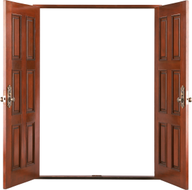 Open wooden door