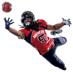 American Football Player Catching A Ball