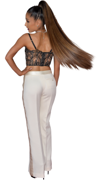 Ariana Grande in white trousers