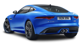 Blue Jaguar F TYPE Back View Car