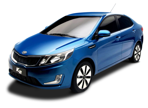 Blue Kia K2 Car