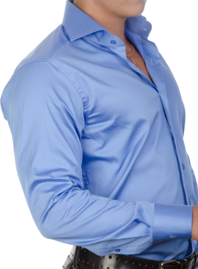 Blue Plain Long Dress Shirt