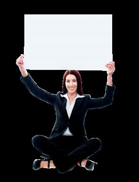 Business Women Holding Banner