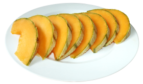Cantaloupe Slices on plate