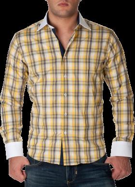 Check Full Dress Shirt Yellow