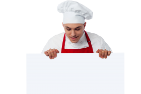 Chef Holding Banner