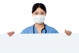 Doctor Holding Banner