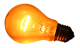 Glowing Yellow Light Bulb