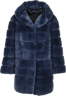 Hooded Rex Rabbit Fur Coat Blue