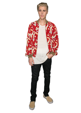 Justin Bieber dressed in a Red Shirt