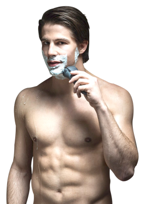 Man using Beard Shaver