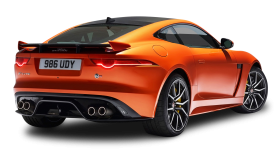 Orange Jaguar F Type SVR Coupe Back View Car