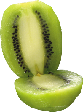 Peeled and split Kiwi