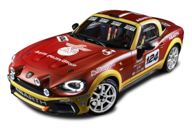 Red Fiat 124 Spider Abarth Rally Car