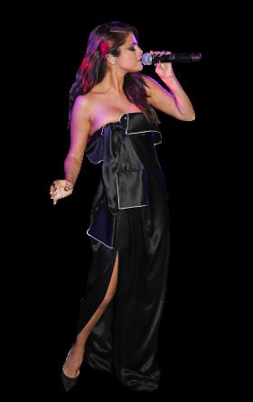 Selena Gomez Black Dress Singing