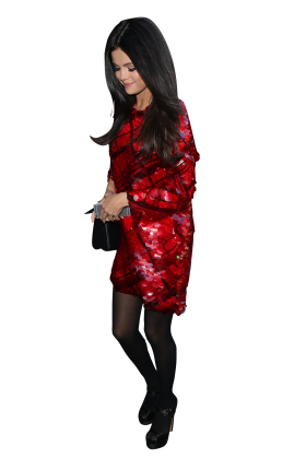 Selena Gomez in Red Dress and Black Pantyhose