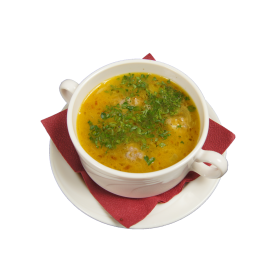 Herbsoup in a white cup