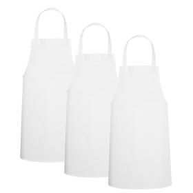 Three Large White Kids Aprons