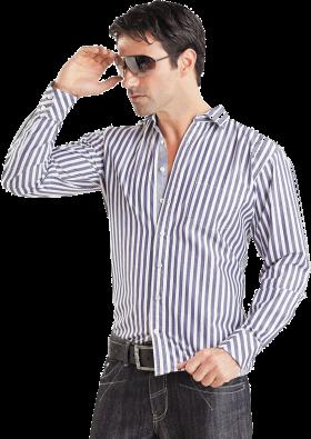 White & Cyan Strip Long Dress Shirt