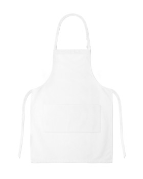 White Full Apron With Pocket