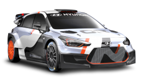 White Hyundai i20 WRC Car