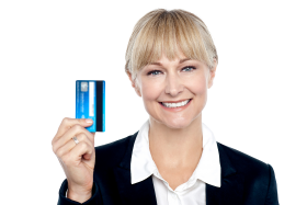 Women Holding Credit Card