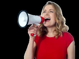 Women Holding Loudspeaker
