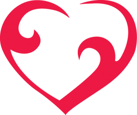 Curved Red Outline Heart
