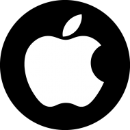 round black-white apple logo