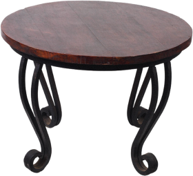 Round brown curvy table