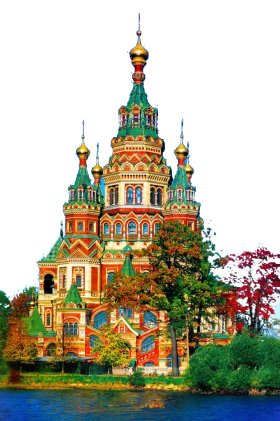 Colourful Landmark Building in Russia