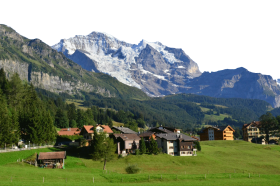 A Small Swiss Community by the snowy alps