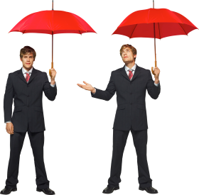 Two Male Twins Businessman Under Red Umbrellas