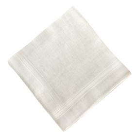 White hand rolled Men Handkerchief