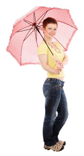 Young Happy Woman Standing With Umbrella